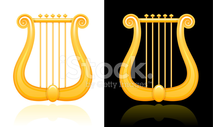 Lyre Design On Black And White Backgrounds Stock Vector