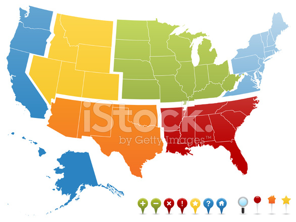 usa gps region pin map stock vector freeimages com