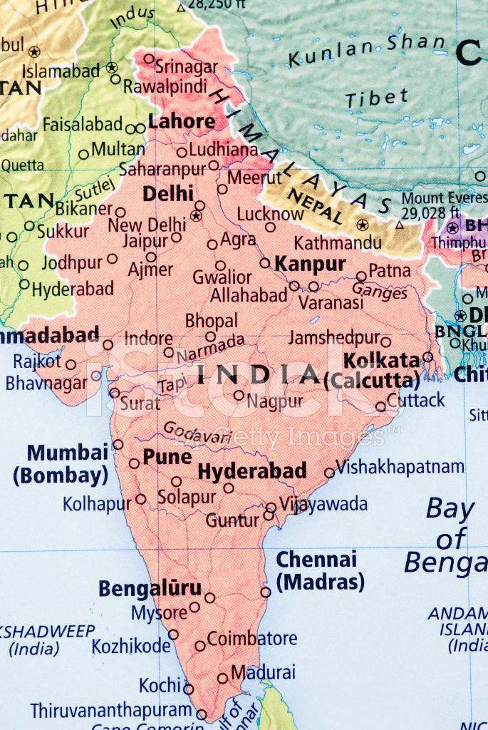 Karta Over Indien Och Nepal Stockfoton Freeimages Com