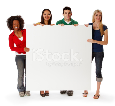 college students holding a blank sign stock photos