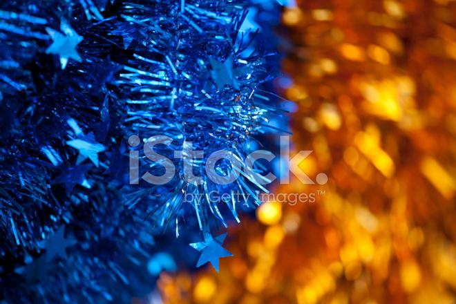 Decorazioni Festive Holiday Blu E Oro Sfondo Fotografie Stock
