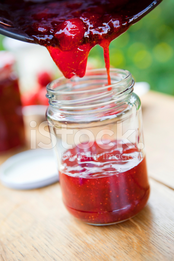 Pouring Freshly Made Strawberry Jam Stock Photos