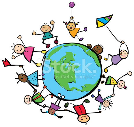 Happy Children Of Different Races Around The Stock Vector