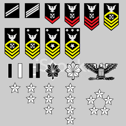 Us Navy Enlisted And Officer Rang Insignia In Vector Format Stock