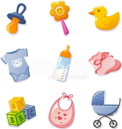 Baby Symbol Elemente Legen Schnuller Ente Babyflasche