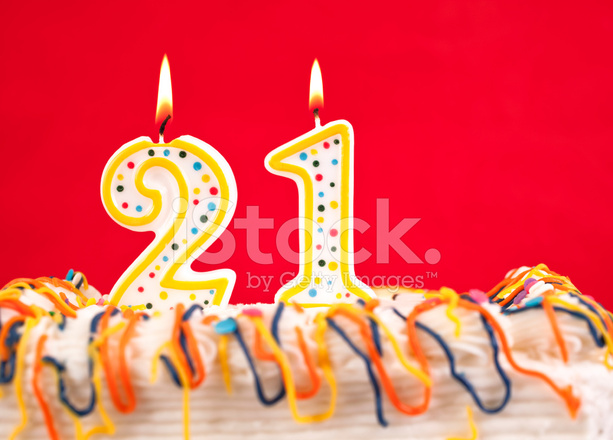 red number 21 birthday candle