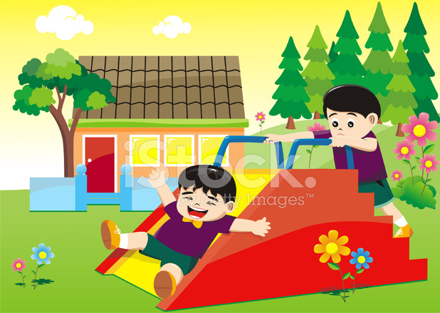 Kids Playing On A Flower Garden At School Stock Vector Freeimages Com