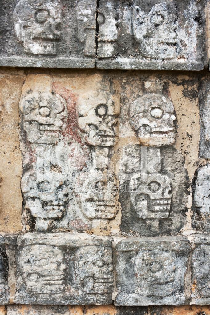 Skulls Carving on Tzompantli Human Sacrifice Platform, Chichen I