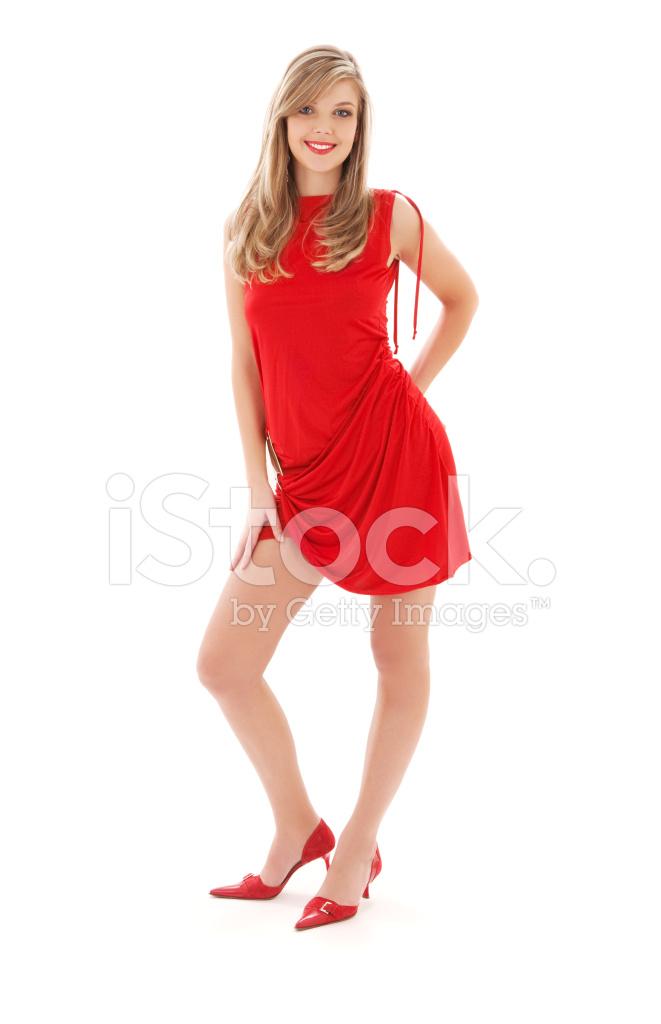 47121f1e262a7c Mooi Meisje IN Een Rode Jurk Stockfoto s - FreeImages.com