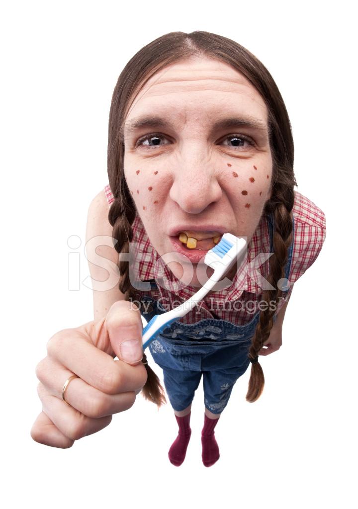 hillbilly woman brushing her three teeth stock photos freeimages com