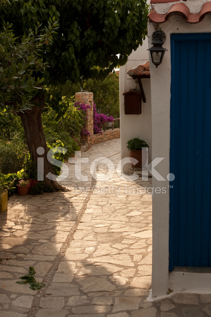 Greek Village Walkway Stock Photos Freeimagescom