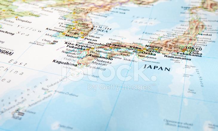 Japan Karte Physisch.Karte Von Japan Stockfotos Freeimages Com