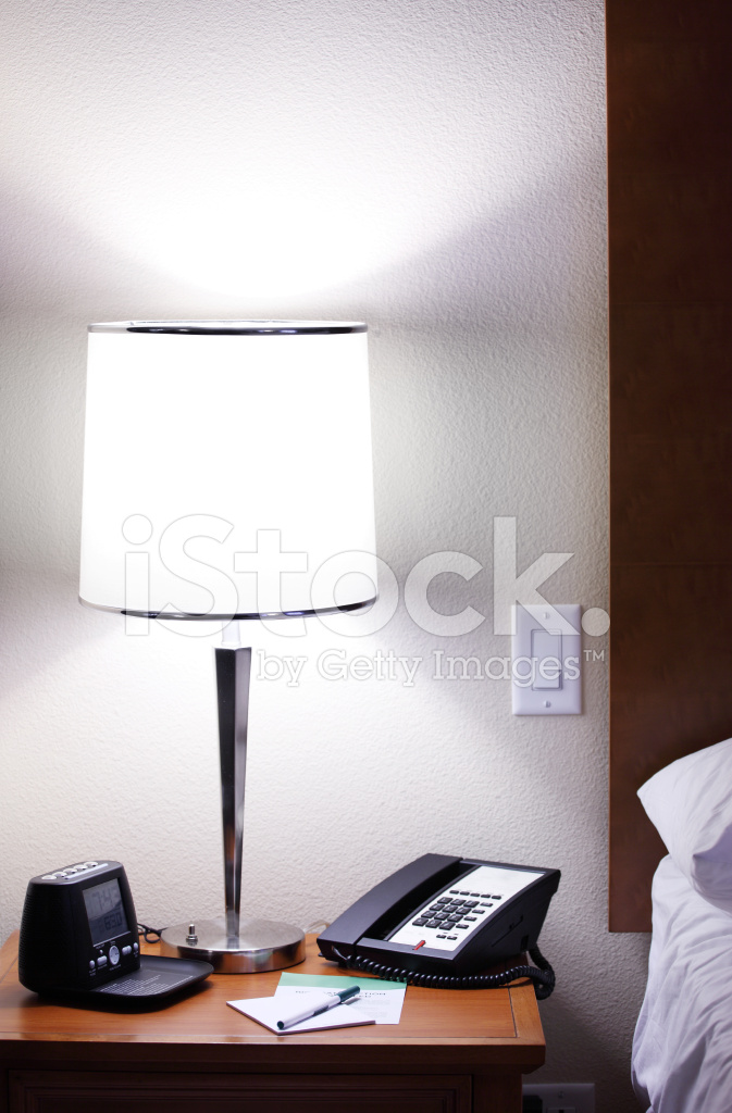 Hotel Room Photography: Nightstand IN Hotel Room Stock Photos