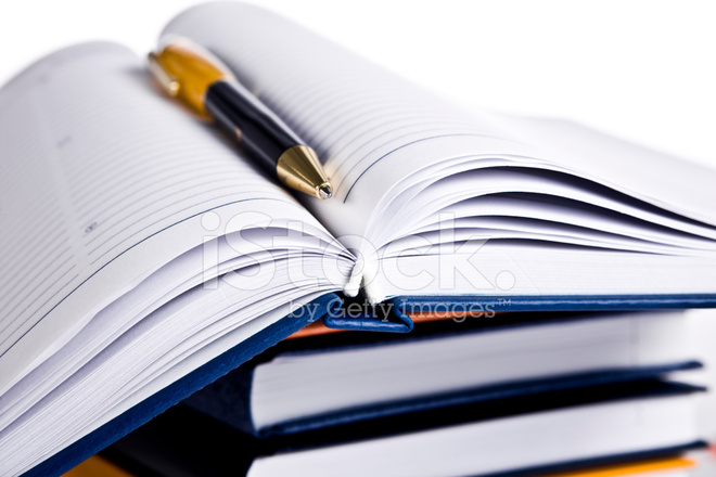 Note Book,books And Pen Stock Photos