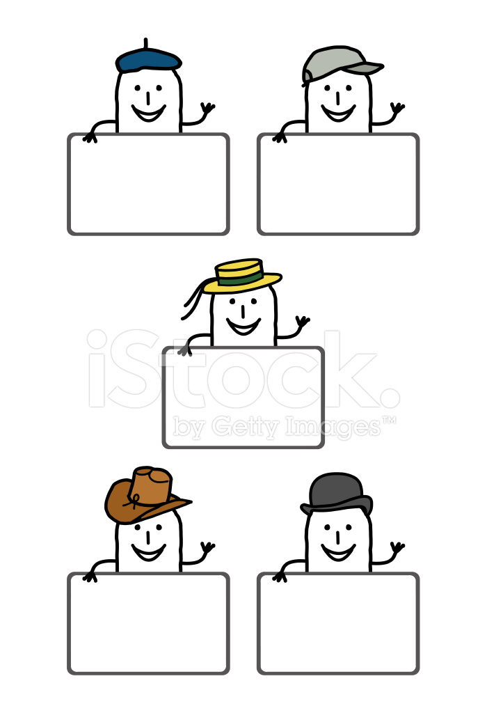 Cartoon People & Blank Labels Stock Vector - FreeImages com