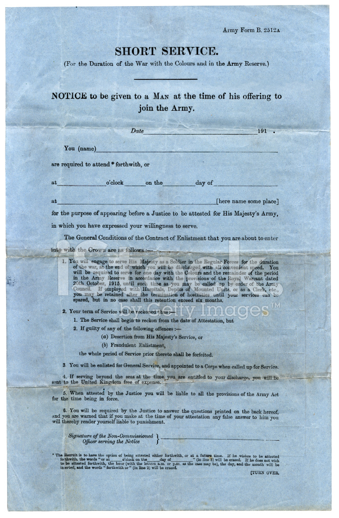First World War British Army Enlistment Form Stock Photos