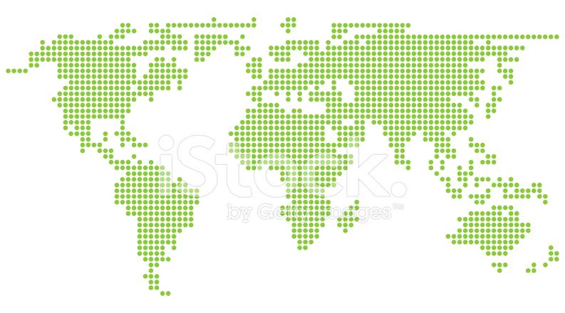 Green World Map In Circlular Pixels Stock Vector Freeimages Com