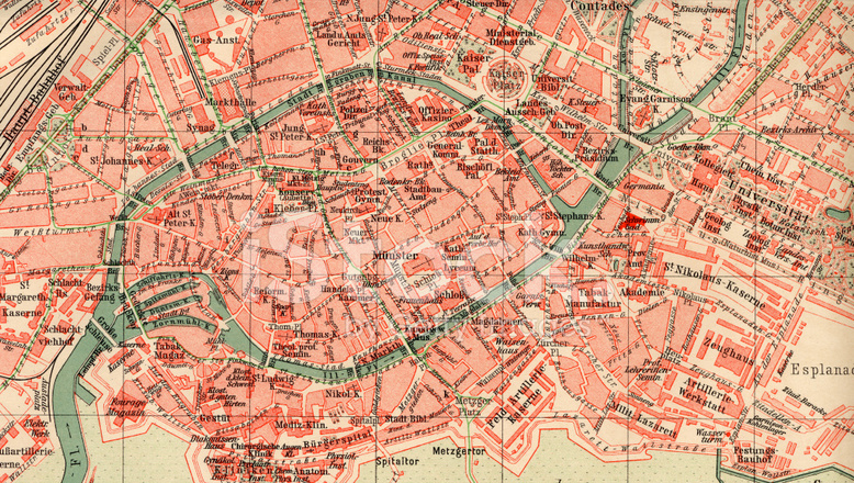 Vintage Strasbourg Map 1880s Stock Photos FreeImagescom