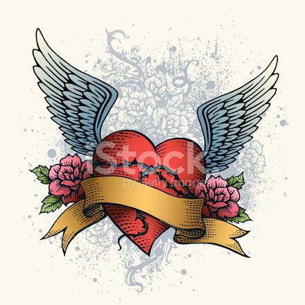 hart tattoo met vleugels rozen en banner stockfotos