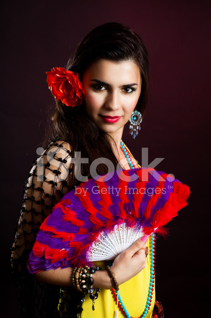 Beautiful Gypsy Woman With Fan Stock Photos - FreeImages.com