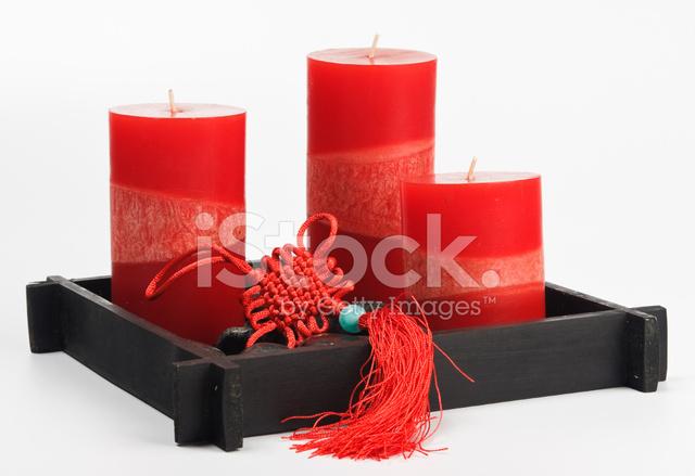 Feng Shui Kaarsen.Chinese Fengshui Instellen Talisman Rode Kaarsen En Stenen