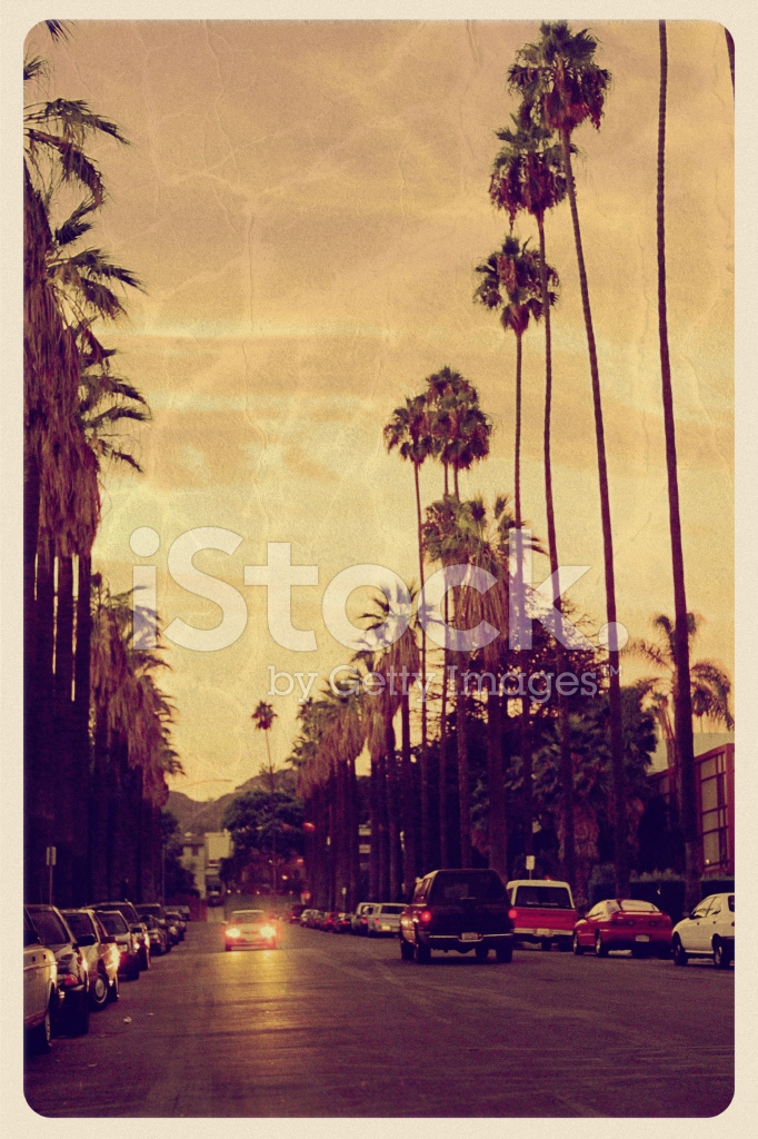 Premium Stock Photo Of Sunset Over Hollywood Hills Vintage Postcard