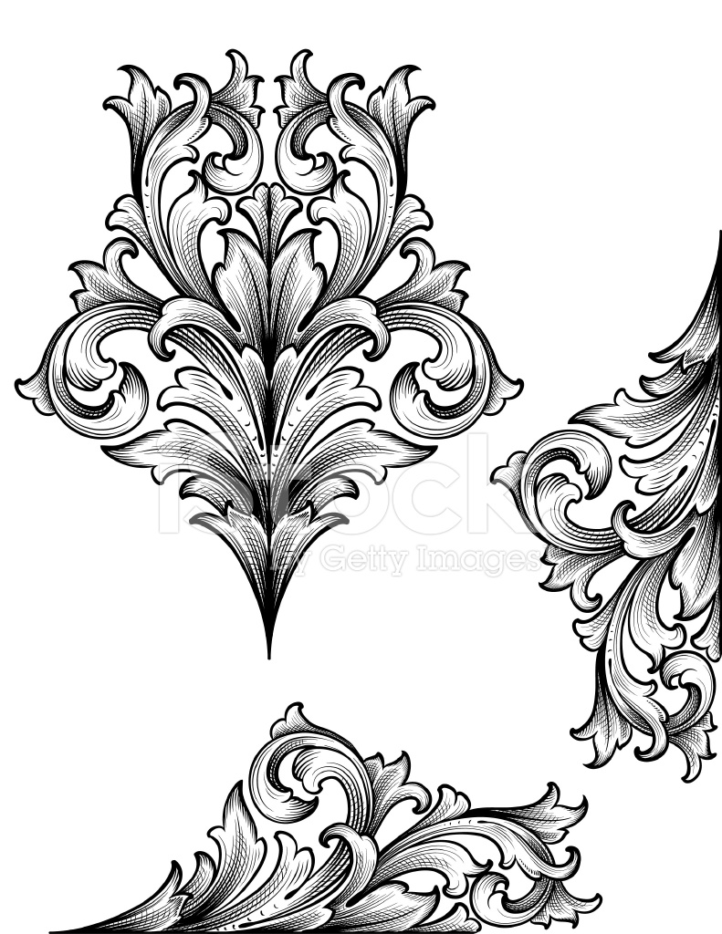 Acanthus edge scrollwork stock vector freeimages