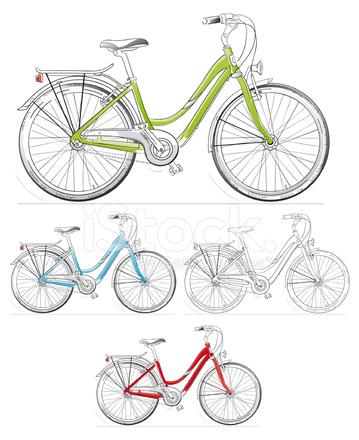 women s fahrrad zeichnung set stockfotos. Black Bedroom Furniture Sets. Home Design Ideas