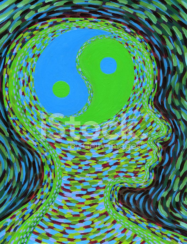 Balanced Mind Yin Yang Profile In Green And Blue Stock