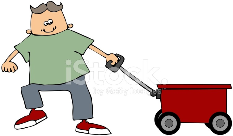 Boy Pulling Wagon : Boy pulling a red wagon stock vector freeimages
