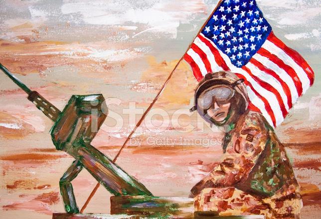 Amerikan Bayragi Ile Tank Uzerinde Askeri Personel Stock Vector