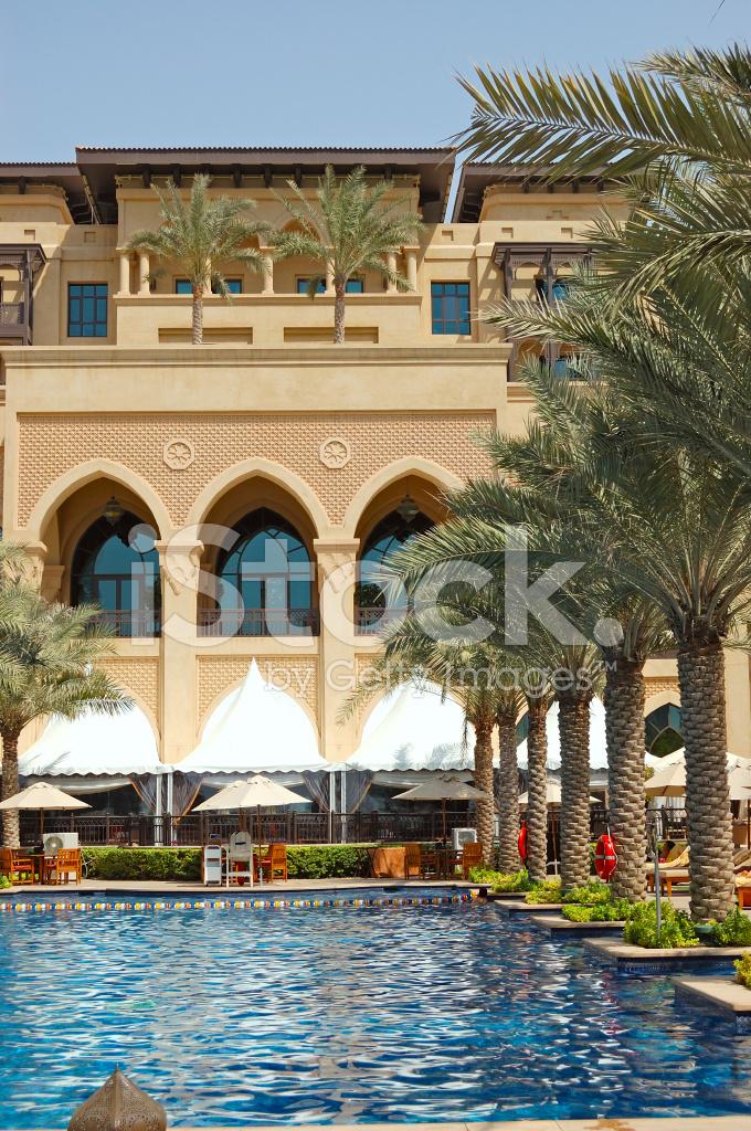 Luxury Hotel Swimming Pool In Dubai Downtown  Uae Stock