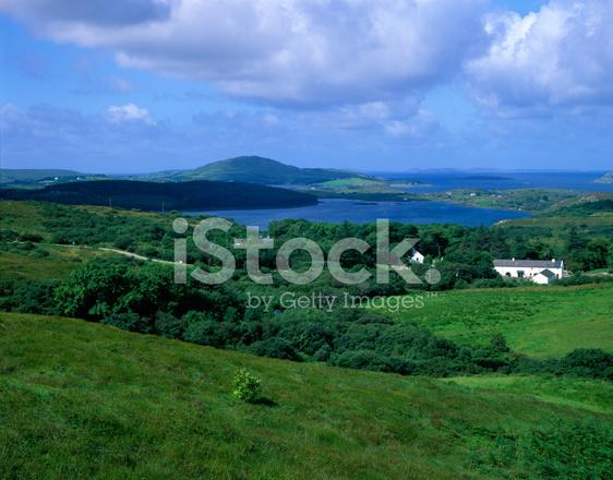 Ireland Farm Houses At The Sea Stock Photos