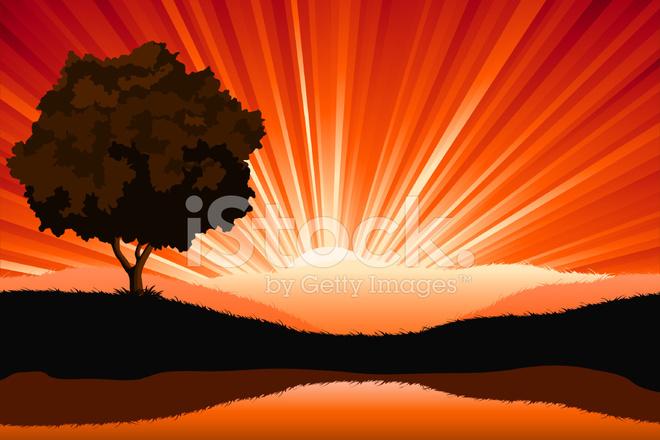 Amazing Natural Sunrise Landscape With Tree Silhouette, Vector I ...   title   www.sunrise.com