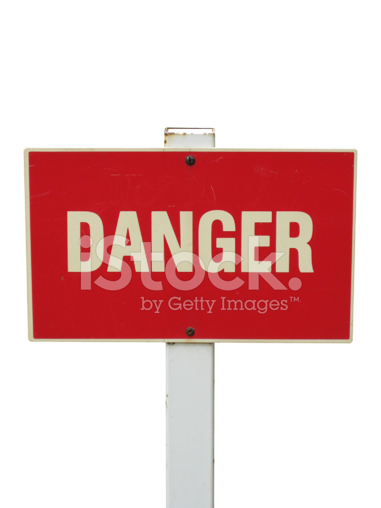 red danger sign isolated on white stock photos