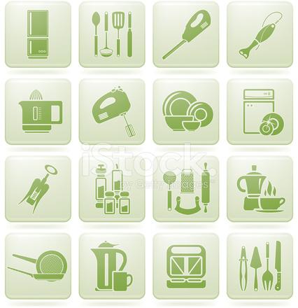 Olivine square 2d icons set kitchen utensils stock vector for Kitchen set 2d