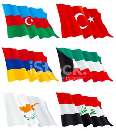 Armenisch Kuwaiti Turkischen Zypriotische Aserbaidschan Irakische Flaggen Stock Vektorgrafik Freeimages Com
