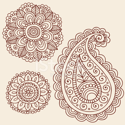 Henna Mehndi Doodle Paisley Design Elements Stock Vector