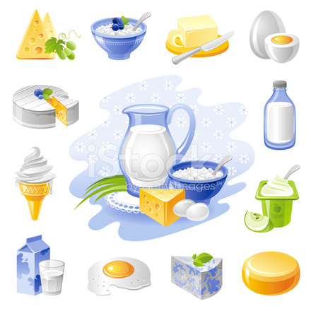 Farm Food Icon Set: Dairy and Poultry Products Stock Vector