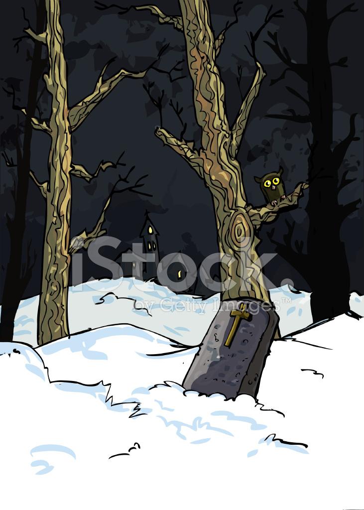 Pierre tombale de dessin anim dans un bois enneig effrayant photos - Pierre tombale dessin ...
