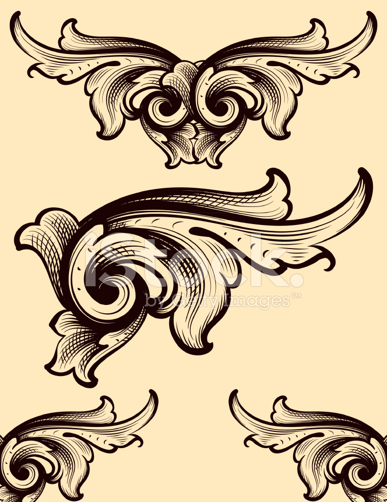 Engraving Swirls Scrollwork Stock Vector - FreeImages.com