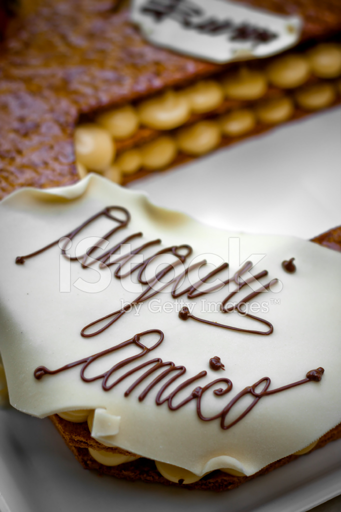 Auguri Amico Italian Birthday Cake Stock Photos Freeimages