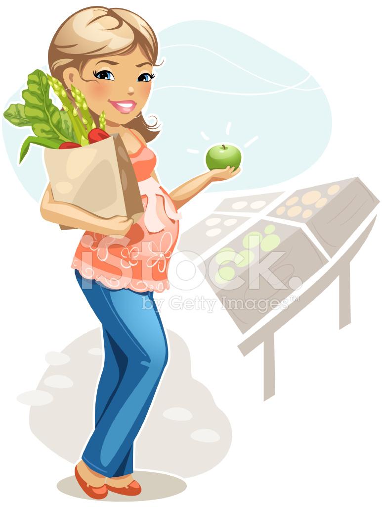 Alimentación Saludable Para La Mujer Embarazada Stock Vector