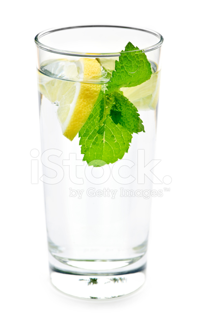 Glass of Water With Lemon and Mint Stock Photos