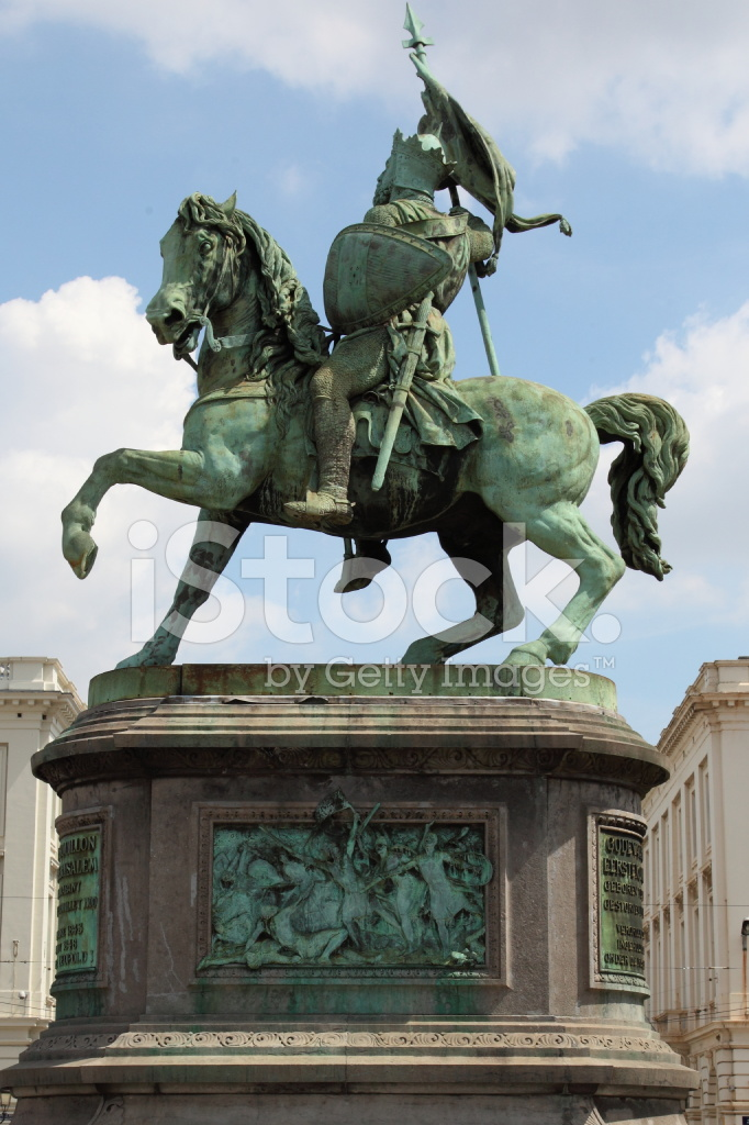 Crusader Statue Bruxelles Belgium Stock Photos