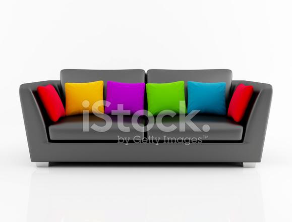 Divano Cuscini Colorati.Isolted Nero Divano Con Cuscino Colorato Fotografie Stock