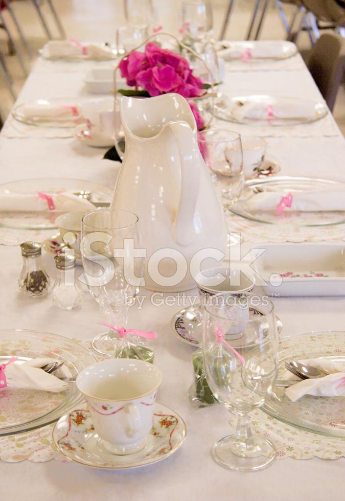 Brunch Table Setting White u0026 Pink & Brunch Table Setting: White u0026 Pink Stock Photos - FreeImages.com