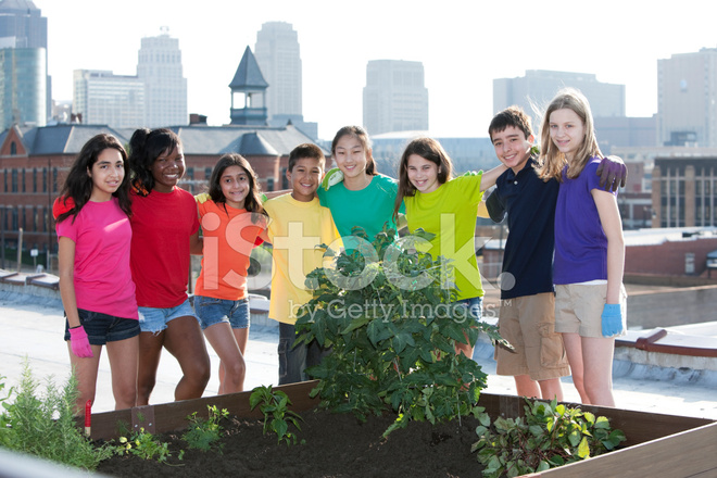 Go Green: Ethnically Diverse Children BY Urban Roof Top ...