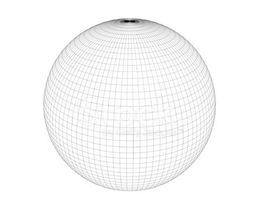Wireframe Sphere High Polygon Stock Photos