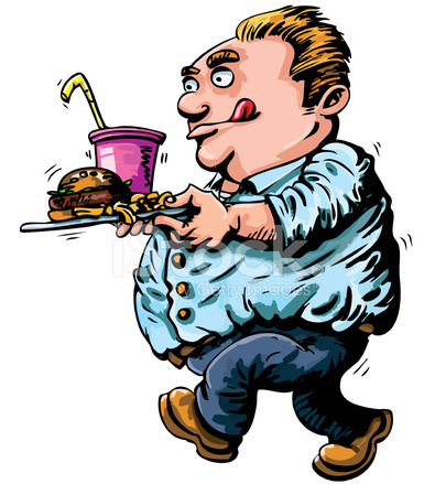 Cartoon Fat Man With Fast Food stock photos - FreeImages.com